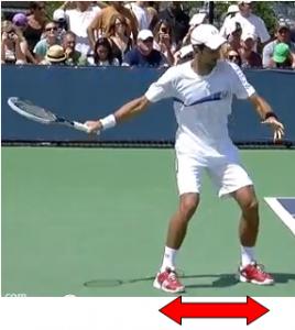 coup droit tennis equilibre