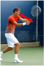 revers tennis deux mains équilibre tête