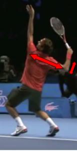 Service au tennis position armée