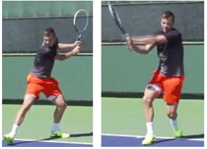 revers tennis deux mains transfert