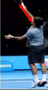 frappe au dessu tete Smash Federer