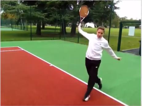 Revers tennis exercice puissance transfert jambe avant
